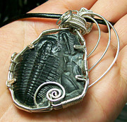 Grey Black Jewelry - Double Trilobite Pendant by Heather Jordan