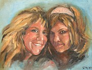 Smiling Painting Posters - Double Trouble Poster by Cynthia Kinsley Miller