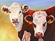 Hereford Prints - Double Trouble Hereford Cows Print by Toni Grote