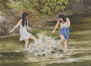 Creek Paintings - Double Trouble by Sam Sidders
