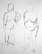 Voluptuous Drawings Prints - Double voluptuous  Print by Joanne Claxton