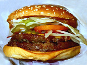 Hamburgers Prints - Double Whopper With Cheese And The Works - v2 - Painterly Print by Wingsdomain Art and Photography