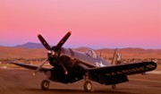 Death Digital Art Originals - Doug Matthews F4U Corsair Sunrise Reno Air Races 2010 by Gus McCrea