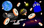 Tardis Digital Art - Doughnuts In Space by Mark Springer