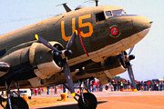 Dc-3 Plane Prints - Douglas C47 Skytrain Military Aircraft . Painterly Style . 7d15774 Print by Wingsdomain Art and Photography