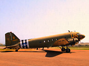 Dc-3 Plane Prints - Douglas C47 Skytrain Military Aircraft . Painterly Style 7d15788 Print by Wingsdomain Art and Photography