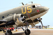 Douglas Dc-3 Framed Prints - Douglas C47 Skytrain Military Aircraft . Spinning Propellers 7d157838 Framed Print by Wingsdomain Art and Photography