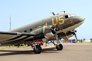 Douglas Dc-3 Framed Prints - Douglas C47 Skytrain Military Aircraft . Spinning Propellers 7d157840 Framed Print by Wingsdomain Art and Photography