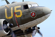 Douglas Dc-3 Framed Prints - Douglas C47 Skytrain Military Aircraft . Spinning Propellers 7d157841 Framed Print by Wingsdomain Art and Photography