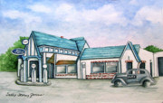 Service Station Paintings - Douglasville Ga. Pure Station and Ford Sales by Sally Storey Jones