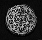Oreos Prints - DOULBLE STUFF OREO in BLACK AND WHITE Print by Rob Hans