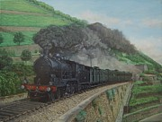 Portugal Art Paintings - Douro Rail Line - Linha de Comboio do Douro by Carlos De Vasconcelos Tavares