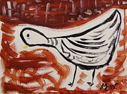 Dove Drawings Metal Prints - Dove and Red Metal Print by Mary Carol Williams