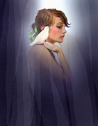 Curtains Digital Art Posters - Dove Girl Poster by Robert Foster