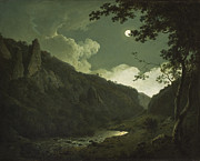 Moonlit Night Painting Posters - Dovedale by Moonlight Poster by Joseph Wright of Derby