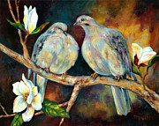 Tree Blossoms Painting Framed Prints - Doves and Magnolia Framed Print by Peggy Wilson