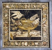 Tiled Framed Prints - Doves On A Drinking Vessel, Roman Mosaic Framed Print by Sheila Terry