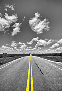 Pavement Digital Art Prints - Down a Black and White Road Print by Bill Tiepelman