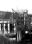 Seashore Digital Art Metal Prints - Down by the Docks in black and white Metal Print by Suzanne Gaff