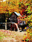 Country Digital Art Metal Prints - Down By the Old Mill Stream Metal Print by Lianne Schneider