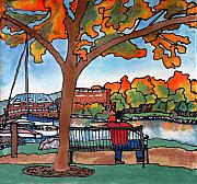 River Tapestries - Textiles Prints - Down by the Waterfront on silk Print by Linda Marcille