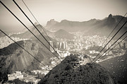 Tourism Digital Art Originals - Down in the Sugar Loaf cable car by Ordi Calder