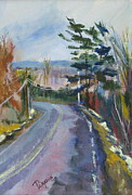 Snowy Trees Paintings - Down My Road by Betty Pieper