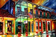 New Orleans Painting Prints - Down on Bourbon Street Print by Diane Millsap