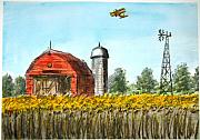 Biplane Paintings - Down on the Farm by V E Delnore
