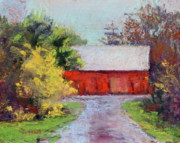Structure Pastels Originals - Down the County Road by Joyce A Guariglia