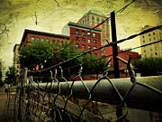 Barbed Wire Fences Digital Art Prints - Down the fence Print by Cathie Tyler