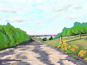 Cape Cod Paintings - Down The Road Cape by Douglas Auld