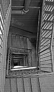 Black Top Digital Art - Down the Stairwell - Black and White by Steve Ohlsen