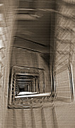High Stepping Posters - Down the Stairwell Spiral - Sepia Poster by Steve Ohlsen