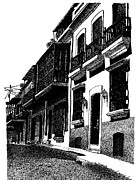 Puerto Rico Drawings - Down the Streets of Old San Juan by Angel Serrano