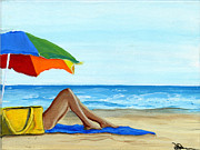 Beach Towel Painting Posters - Down Time Poster by Debbie Brown