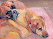 Boxer Portrait Paintings - Down Time by Kimberly Santini