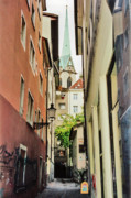 Old Houses Metal Prints - Down Town Lane Niederdorf Zurich Switzerland Metal Print by Susanne Van Hulst