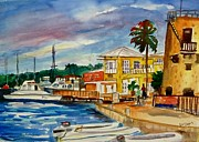 Coconut Trees Paintings - Down Town St Croix by Diane Elgin