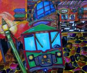 Riverwalk Paintings - Down Town Trolley by Patti Schermerhorn