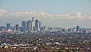Down Town Los Angeles Framed Prints - Down Twon Los Angeles in Winter Framed Print by Lee Chon
