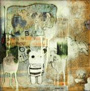 Cow Mixed Media Prints - Down With The Big Bad Wolf Print by Konrad Geel