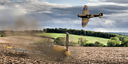 Supermarine Spitfire Posters - Downfall of a 109 colour version Poster by Gary Eason