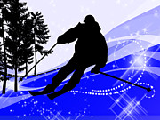 Ski Racing Paintings - Downhill on the Ski Slope  by Elaine Plesser