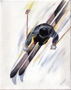 Speed Paintings - Downhill Skier by Robin Wiesneth