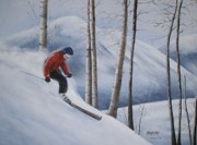 Snowscape Paintings - Downhill Skiier by Allan Carey