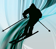 Ski Racing Paintings - Downhill Skiing on Icy Ribbons by Elaine Plesser