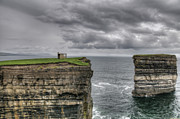 Cliffs Posters - Downpatrick Head lookout tower Poster by Marion Galt