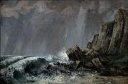 Downpour Posters - Downpour at Etretat  Poster by Gustave Courbet
