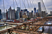 Downtown And Lower East Side Manhattan From The Brooklyn Bridge Print by Randy Aveille